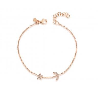 Pave Moon & Star Bracelet