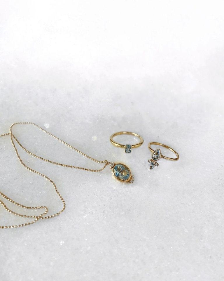 Aquamarine Ring & Necklace for March Birthdays