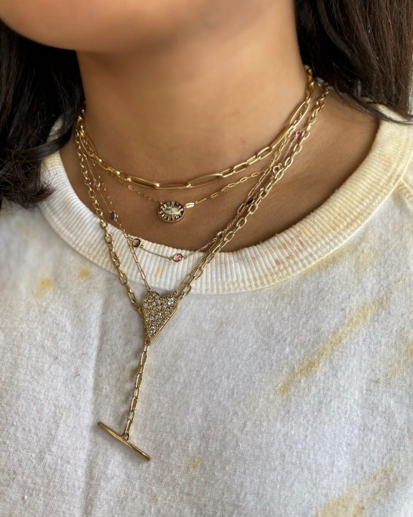 Mix link and oval link chain necklaces