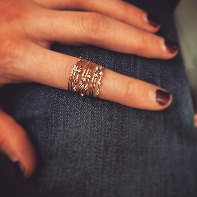 Three Diamond Orbit Ring