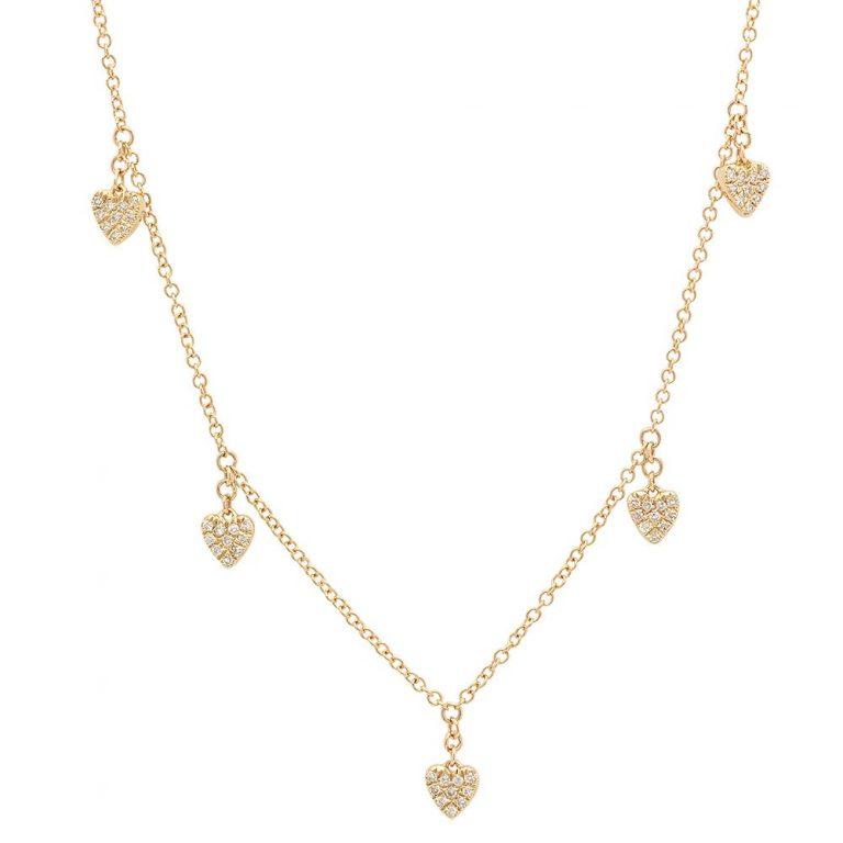 Pave Diamond Multi-Heart Necklace