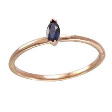 Single Blue Sapphire Marquis Ring