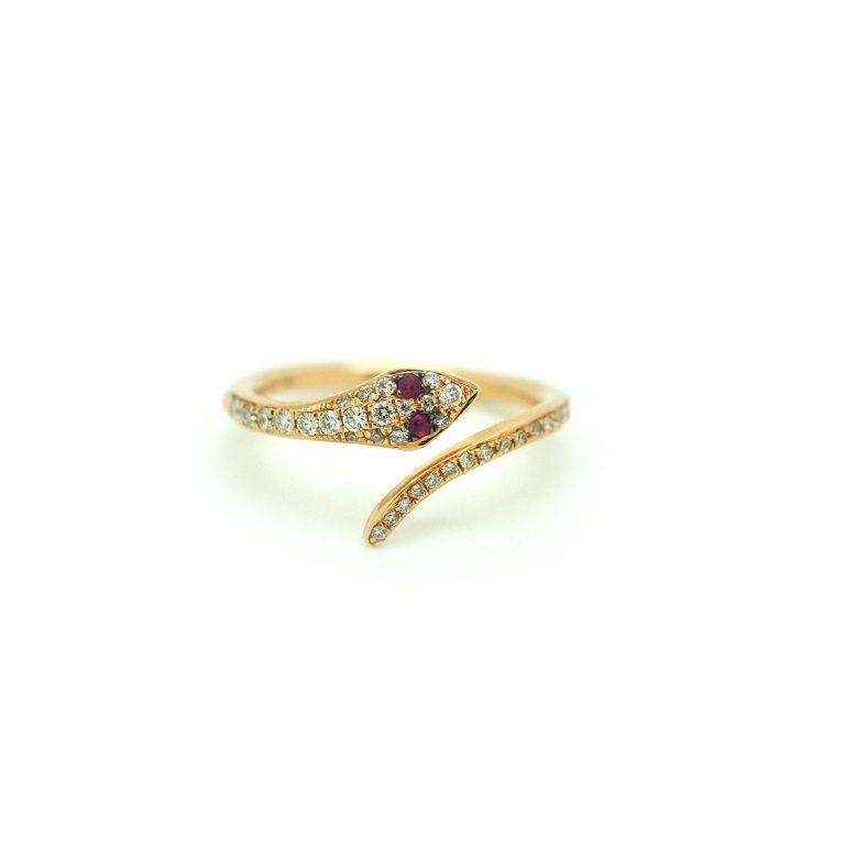 Ruby & Diamond Snake Ring
