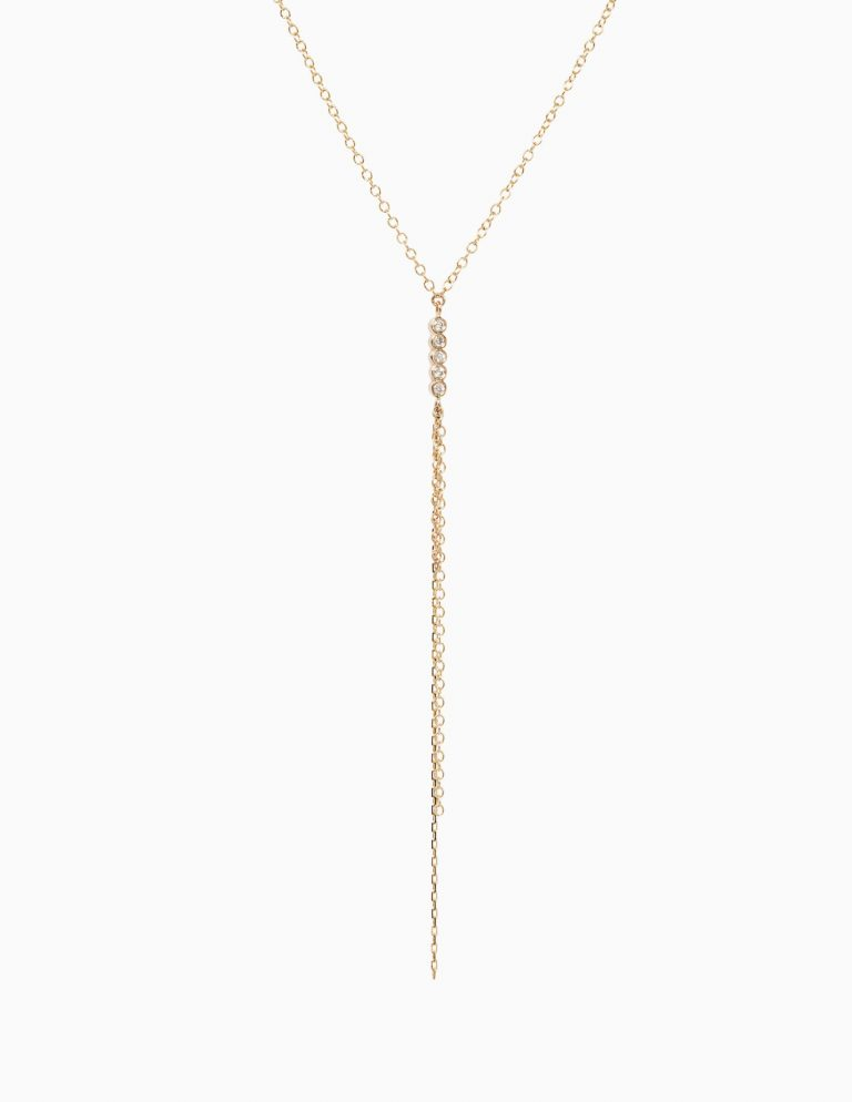 5 Diamond and Chain Fringe Necklace