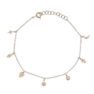 Diamond Multi Charm Bracelet in Yellow Gold