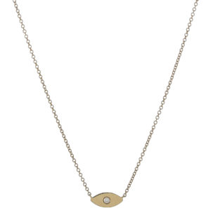Simple Diamond Evil Eye Necklace in Yellow Gold