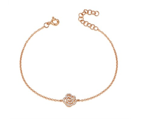 Pave Diamond Rose Bracelet