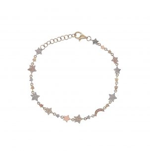 Pave Moon & Star Mix Metal Bracelet