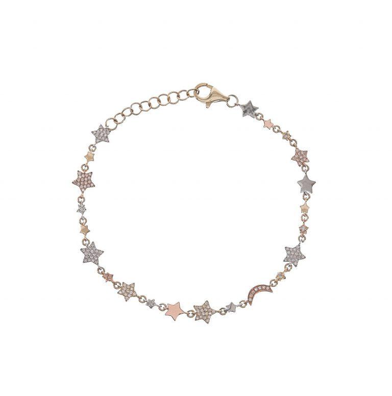 Pave Moon & Star Mix Metal Bracelet