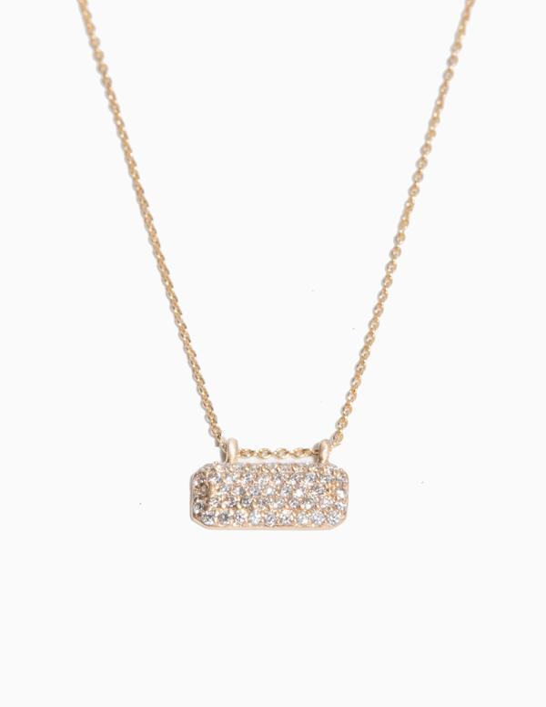 Horizontal Diamond Tag Necklace