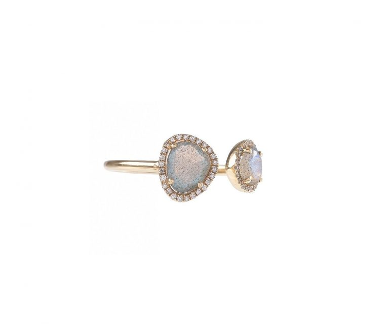 Double Labradorite & Diamond Ring