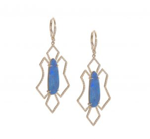 Free Form Geometric Opal Earrings