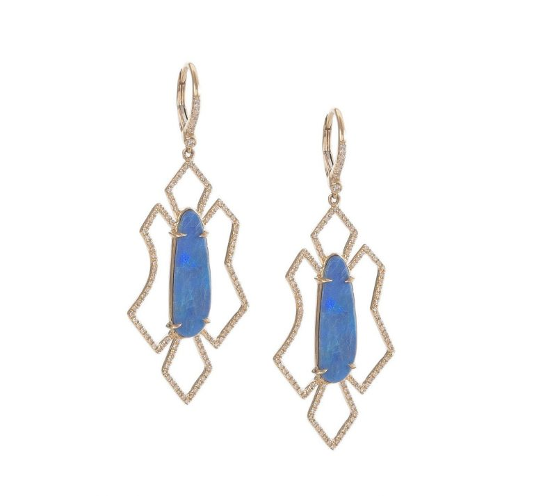 Free Form Geometric Opal Earrings