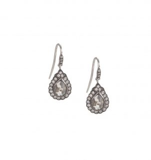 Gray Diamond Teardrop Earrings