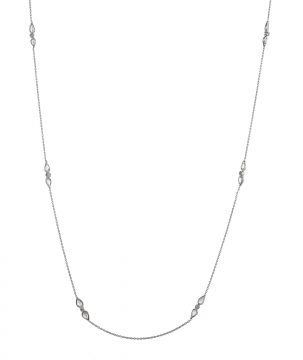 Tear & Round Diamond Station Necklace