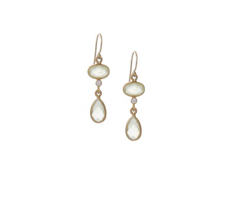 Prehnite 2-Drop & Diamond Earrings