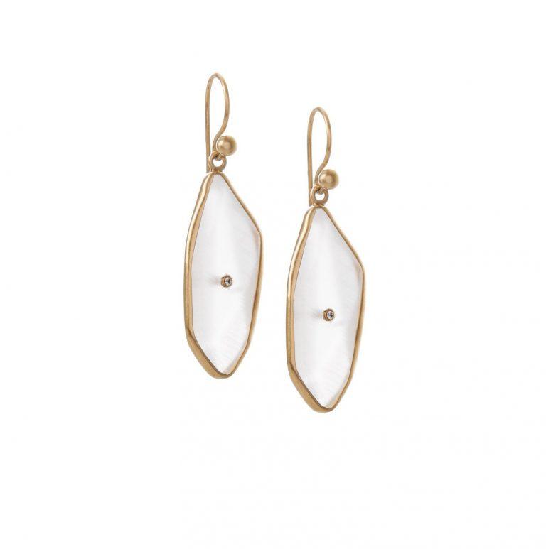 Moonstone Nugget Diamond Drops