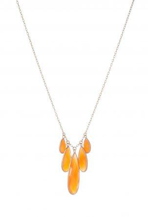 5 Drop Carnelian Necklace