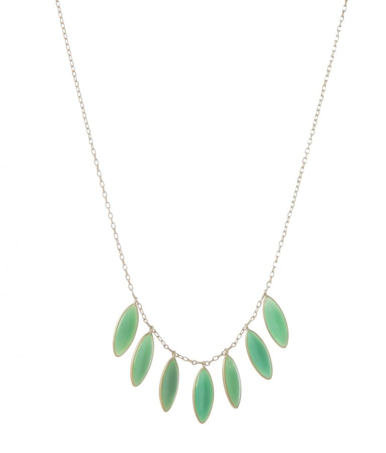 Mint Chrysophrase Marquis Fringe Necklace