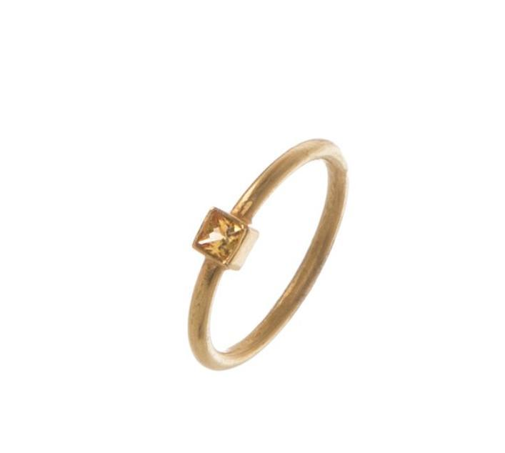 Square Yellow Sapphire Ring