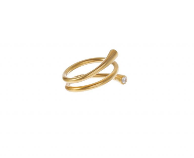 Gold & Diamond Spiral Ring
