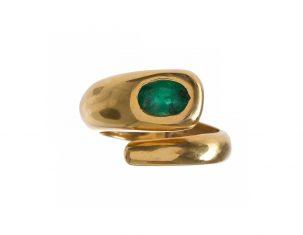 Emerald Snake Ring