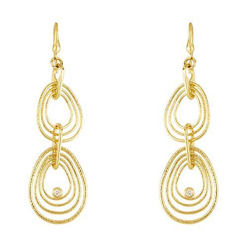 Ripple Link & Diamond Drop Earrings