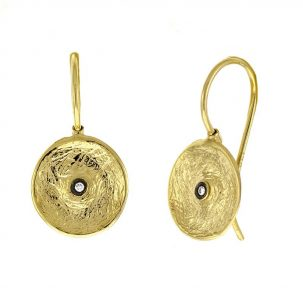 Textured Disc & Diamond Drop Earrings