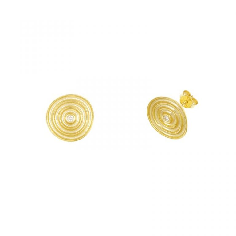 Gold Swirl & Diamond Studs
