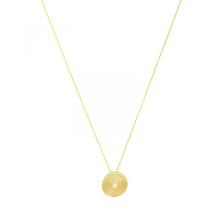 Gold Swirl Disc & Diamond Necklace