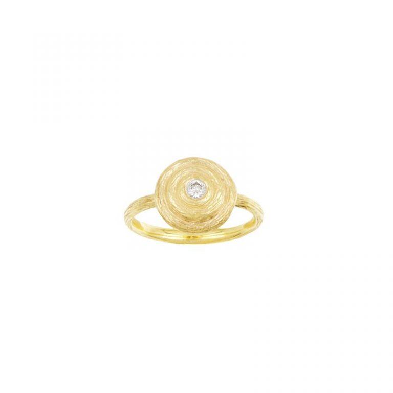 Round Swirl & Diamond Ring