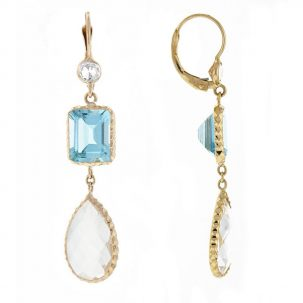 Blue Topaz & Crystal Drop Earrings