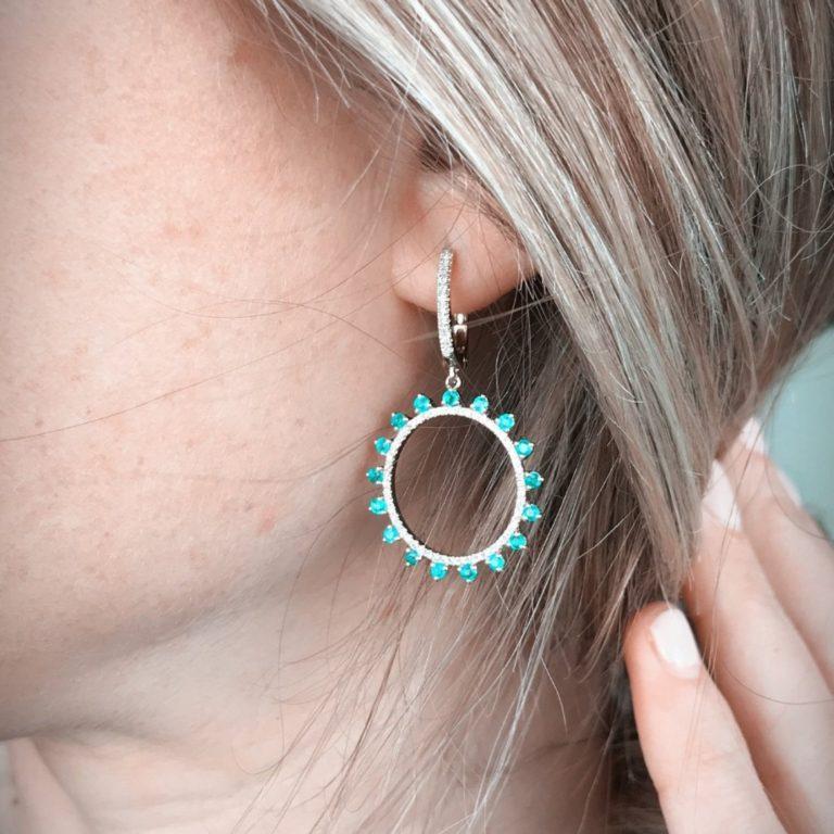 Emerald & Diamond Circle Drop Earrings