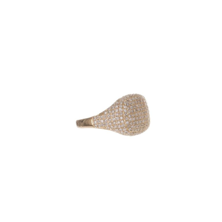 Pave Diamond Square Signet Ring