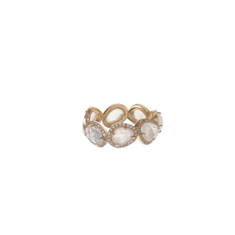 Moonstone & Pave Eternity Ring