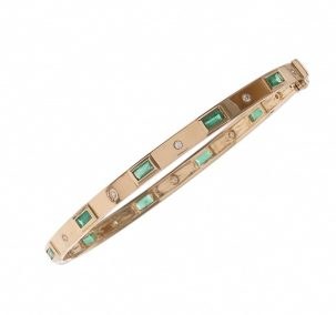 Emerald Baguette & Diamond Bangle