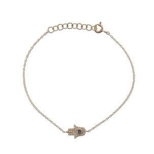 Pave & Sapphire Hamsa Chain Bracelet in Yellow Gold - Moondance Jewelery Gallery