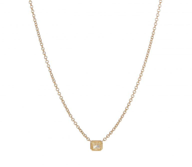 Radiant Yellow Diamond Solitaire Necklace
