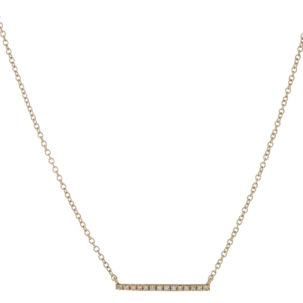 Diamond Line Necklace - Skinny Diamond Bar in Yellow Gold available at Moondance Jewelry Gallery