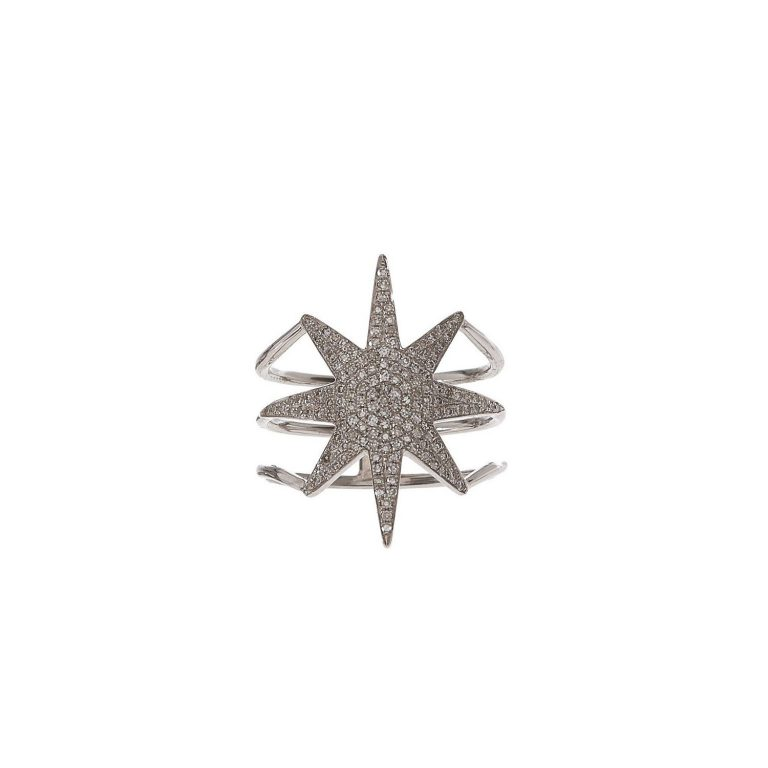 Pave Diamond Starburst Ring