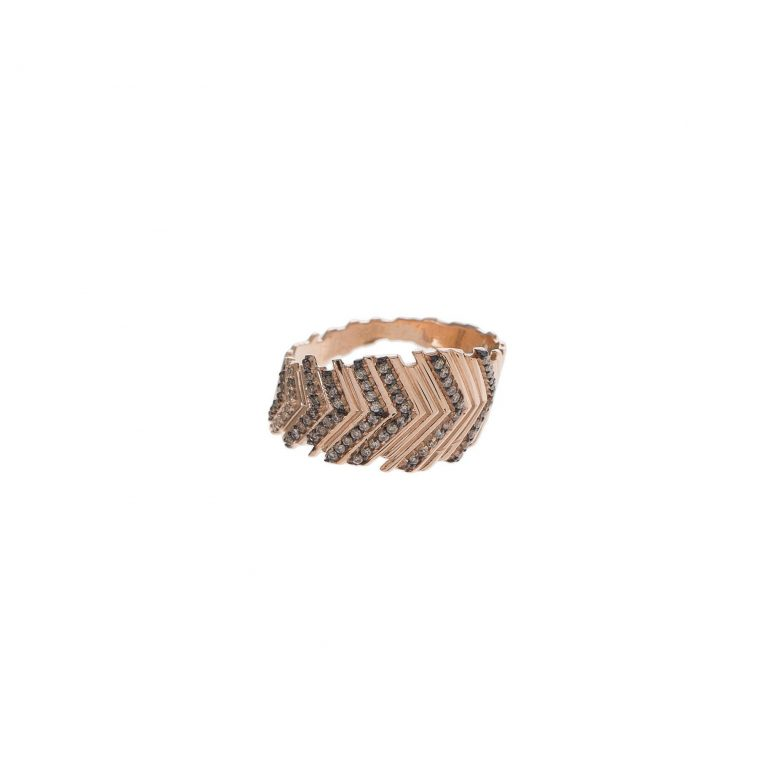 Black Textured Chevron Ring
