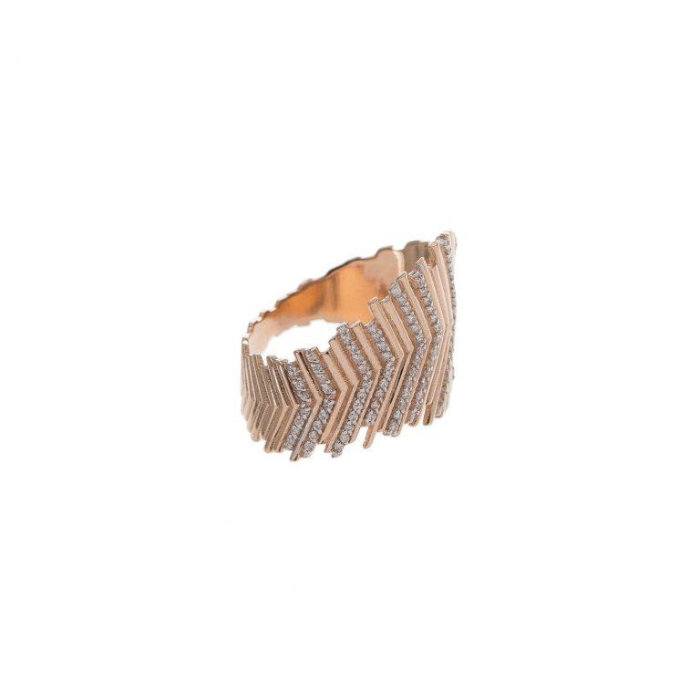 White Textured Chevron Ring