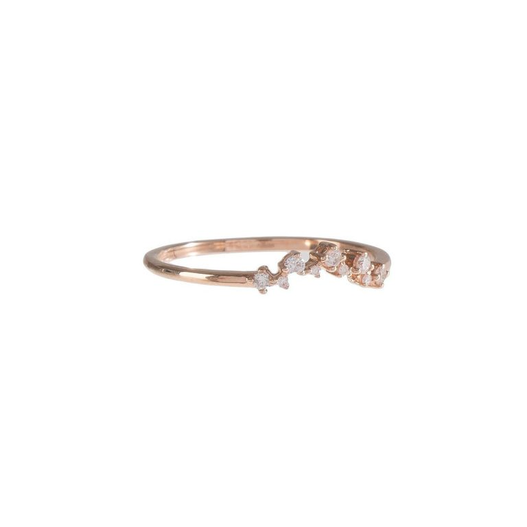 Curve Diamond Cluster Ring