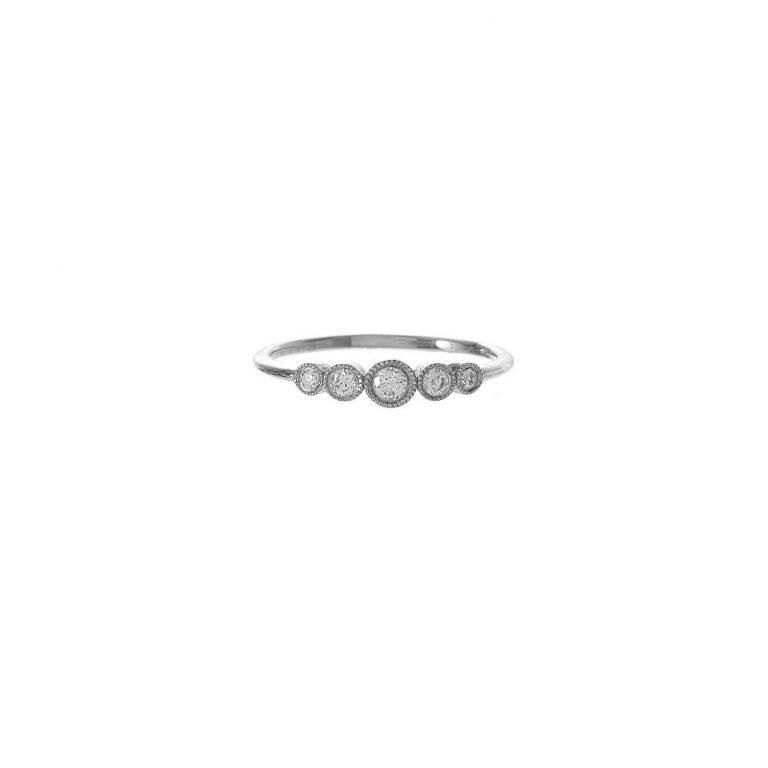 Graduated Diamond Bezel Ring