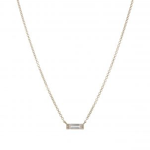 White Topaz Baguette Necklace