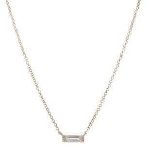 White Topaz Baguette Necklace in Yellow Gold from Moondance Jewelry Gallery