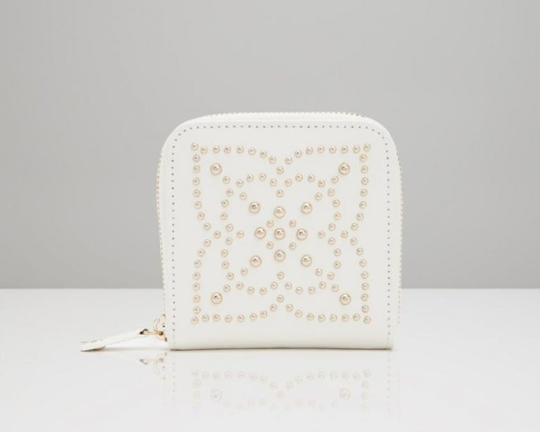 Cream Studded Jewelry Wallet
