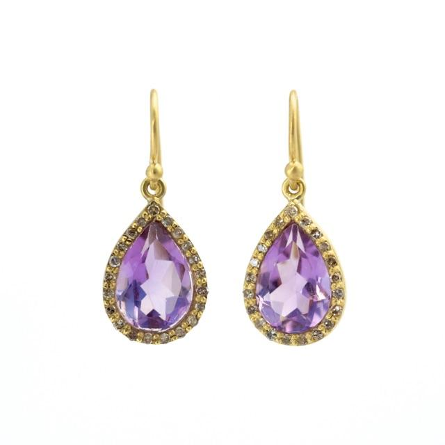 Amethyst & Diamond Teardrop Earrings