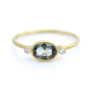 Oval Green Sapphire & Diamond Ring