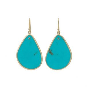 Turquoise Slice with Inset Diamond Earrings